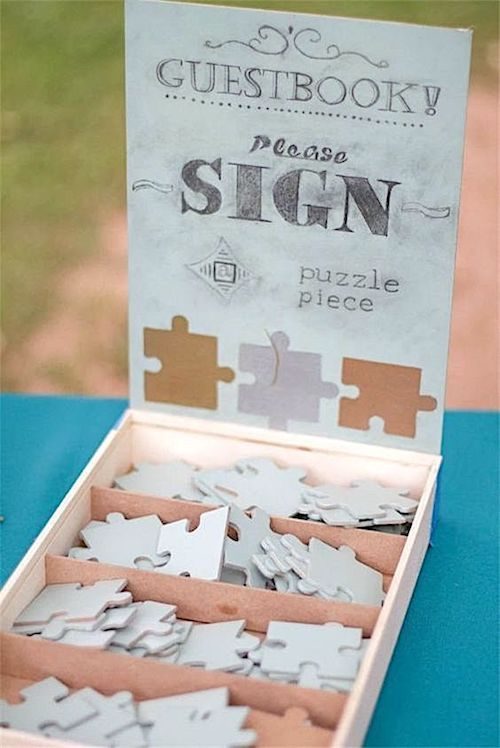 Woohoo! Давайте поставим головоломку Гостевая книга вместе после свадьбы!