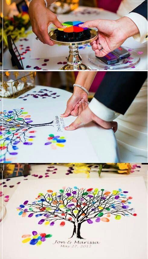 Уникальные идеи свадебной гостевой книги. Красочные отпечатки пальцев везде!