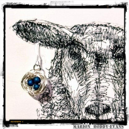 Earring card with blue nest earrings by Skye artist Marion Boddy-Evans