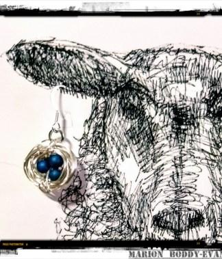Earring card with blue nest earrings by Skye artist Marion Boddy-Evans