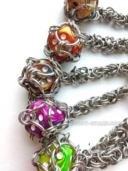 Emergency Dice Keyring d6 captured die chainmaille by Alistair Boddy-Evans