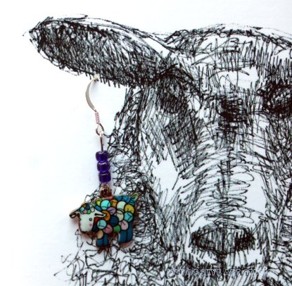 Earring Card with Colourful Sheep Charm from Isle of Skye Art Studio