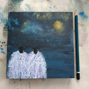 Sheep Painting: Harvest Full Moon