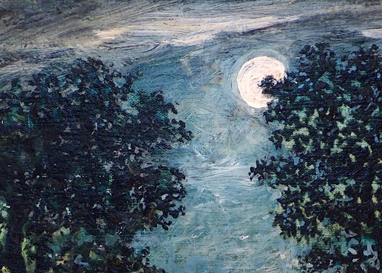 After Ralph Albert Blakelock Canoe in Moonlight Closeup Moon