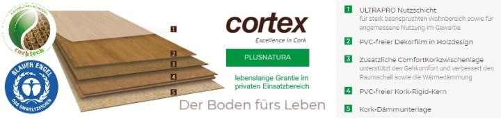 cortex Plusnatura Rigd-Kork Designboden zertifiziert mit Blauer Engel