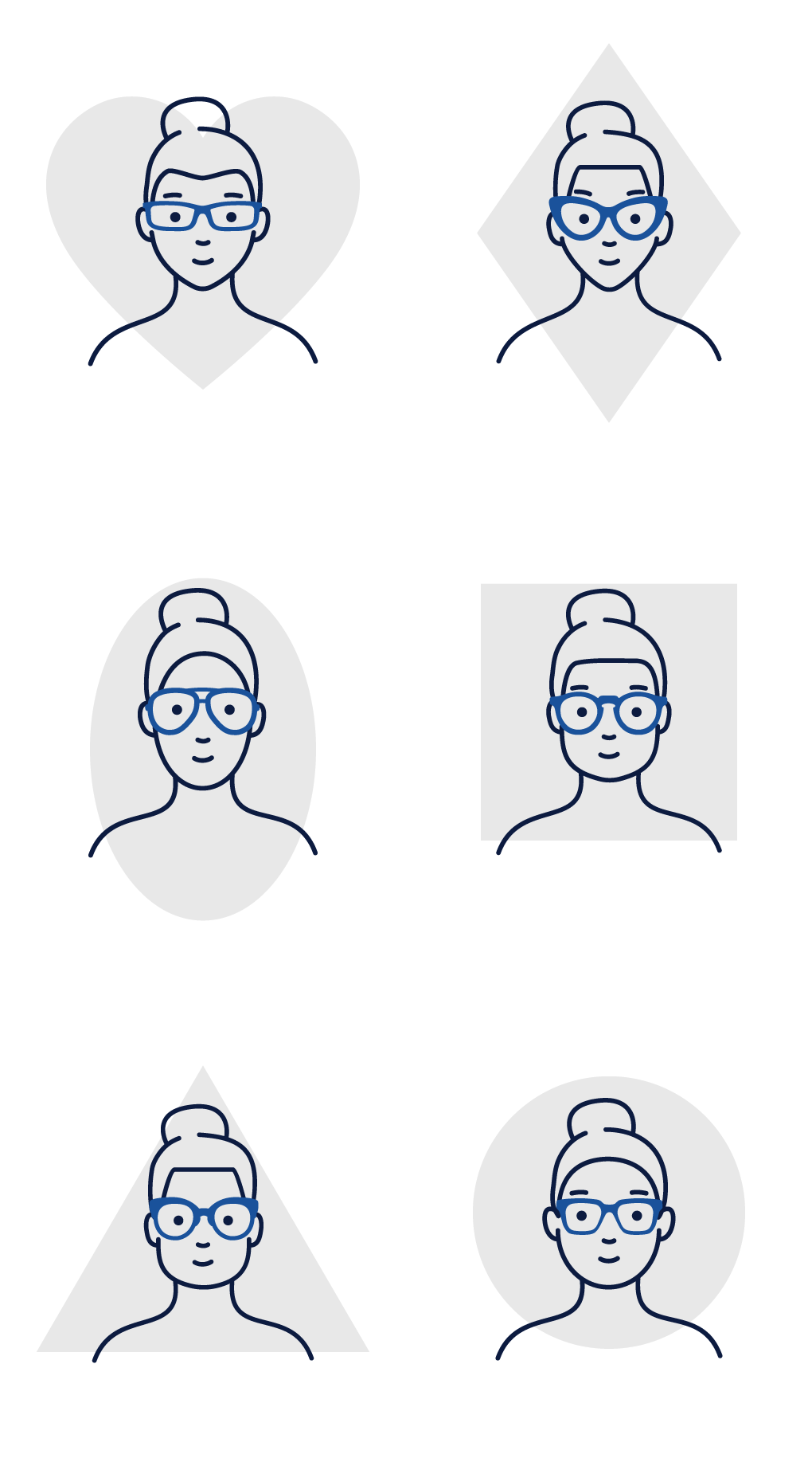Illustration of various face shapes - women