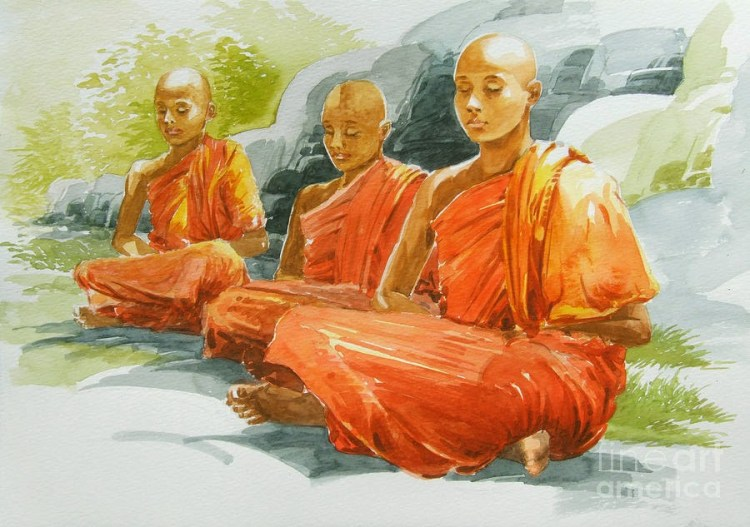 This image has an empty alt attribute; its file name is meditating-buddhist-monks-blissful-by-sarath-dissanayake.jpg