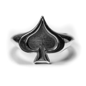 Ace of Spades ring silver front sterling silver