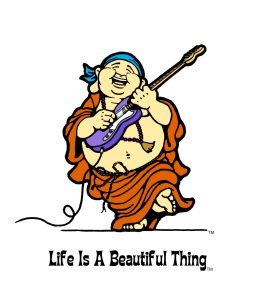 """Life is a Beautiful Thing"" Buddha playing electric guitar."