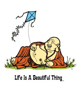 """Life is a Beautiful Thing"" Buddha flying kite."
