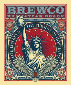 Brewco Pursuit of Hoppiness poster. This, along with all of the Brewco posters are printed on canvas and displayed on rotation at Brewco Manhattan Beach .