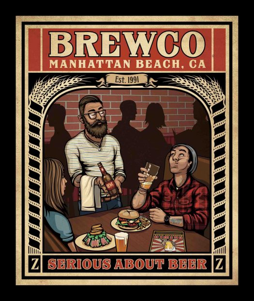 "Brewco Serious About Beer poster. The owner commissioned me to create a Brewco version of the New Yorker cover featuring the illustration ""Hip Hops"" by Peter de Séve."