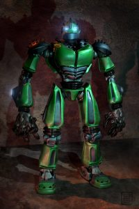Green robot design.