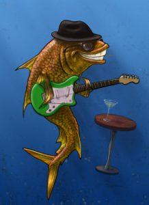Rock'n Fish character designed for Studio El Segundo.