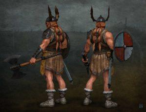 Viking character back views.