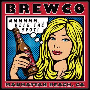 Brewco blonde haired beauty holding a beer poster.