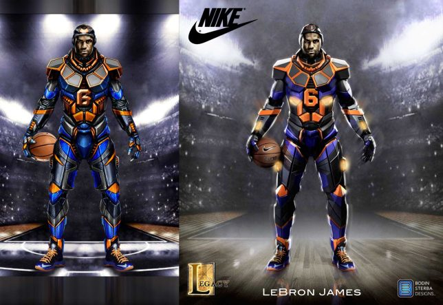 Left Image: Initial 2D suit design sketch. Right Image: Final render and composite of Lebron which was delivered to Nike.