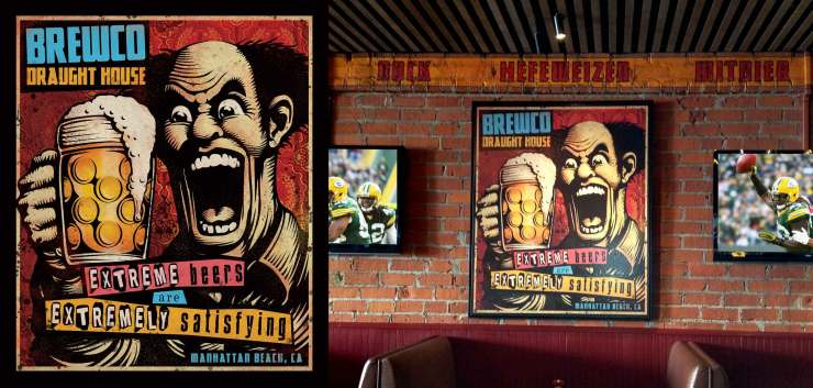 Left Image: Brewco Extreme Beers poster final design. Right Image: The printed poster on canvas, desplayed at Brewco Manhattan Beach.