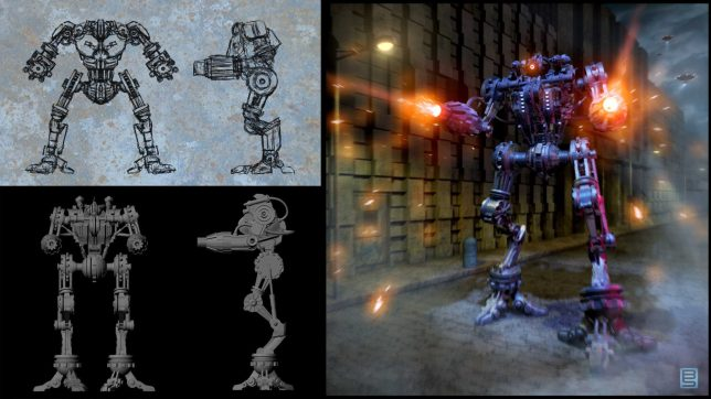 Left Images: Robot ortho sketches and 3D model. Right Image: Final composited design.