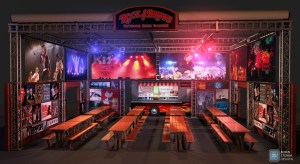 Rock & Brews 40′ x 40′ outdoor beer garden concept.