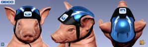 Geico Piggy street luge helmet design.