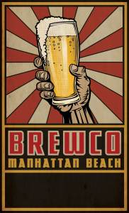 Manhattan Beach Brewco menu cover without bottom text.