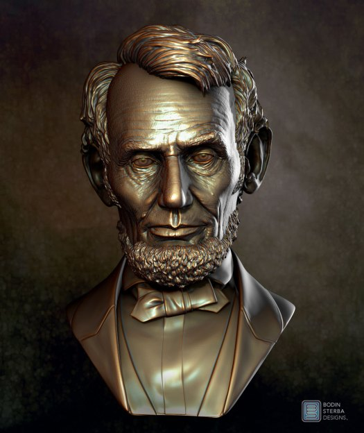 Abe Lincoln Bust sculpt- front view
