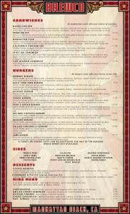 Brewco Manhattan Beach menu page (menu text layed out by Brewco)