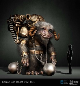 Initially Alan asked to to make a beast that was part Bantha and part Ludu, These were my initial designs. At first Alan asked me to try a steam punk version of the the beast, so this is one pass at it.