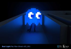 3D Pac Man ghost design for Bud Lite Superbowl 2015 commercial
