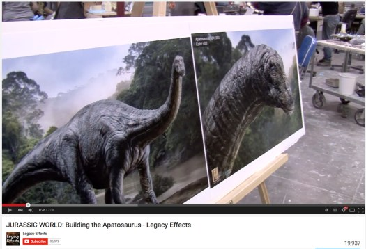 Two of my Apatosaurus concepts shown in the making-of featurette, Jurassic World: Building the Apatosaurus