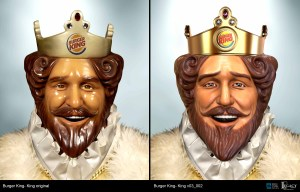 Burger King King before and after facelift.
