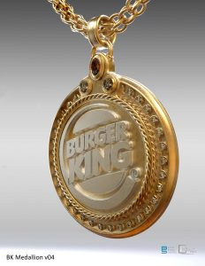 Burger King King medallion design.