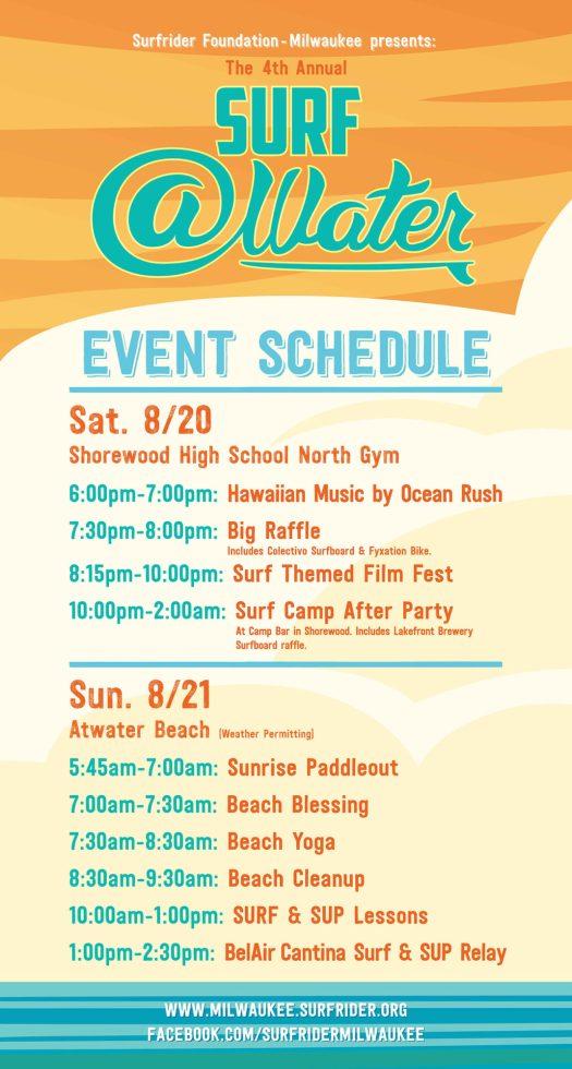 Surf @Water 2016 Schedule
