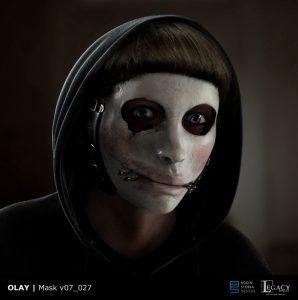 """Olay mask design from """"Killer Skin"""" Super Bowl LIII spot"""