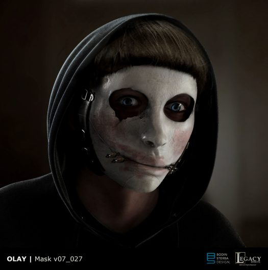 "Olay mask design from ""Killer Skin"" Super Bowl LIII spot"