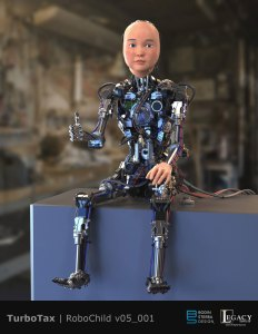 "TurboTax ""RoboChild"" design for Super Bowl LIII spot"