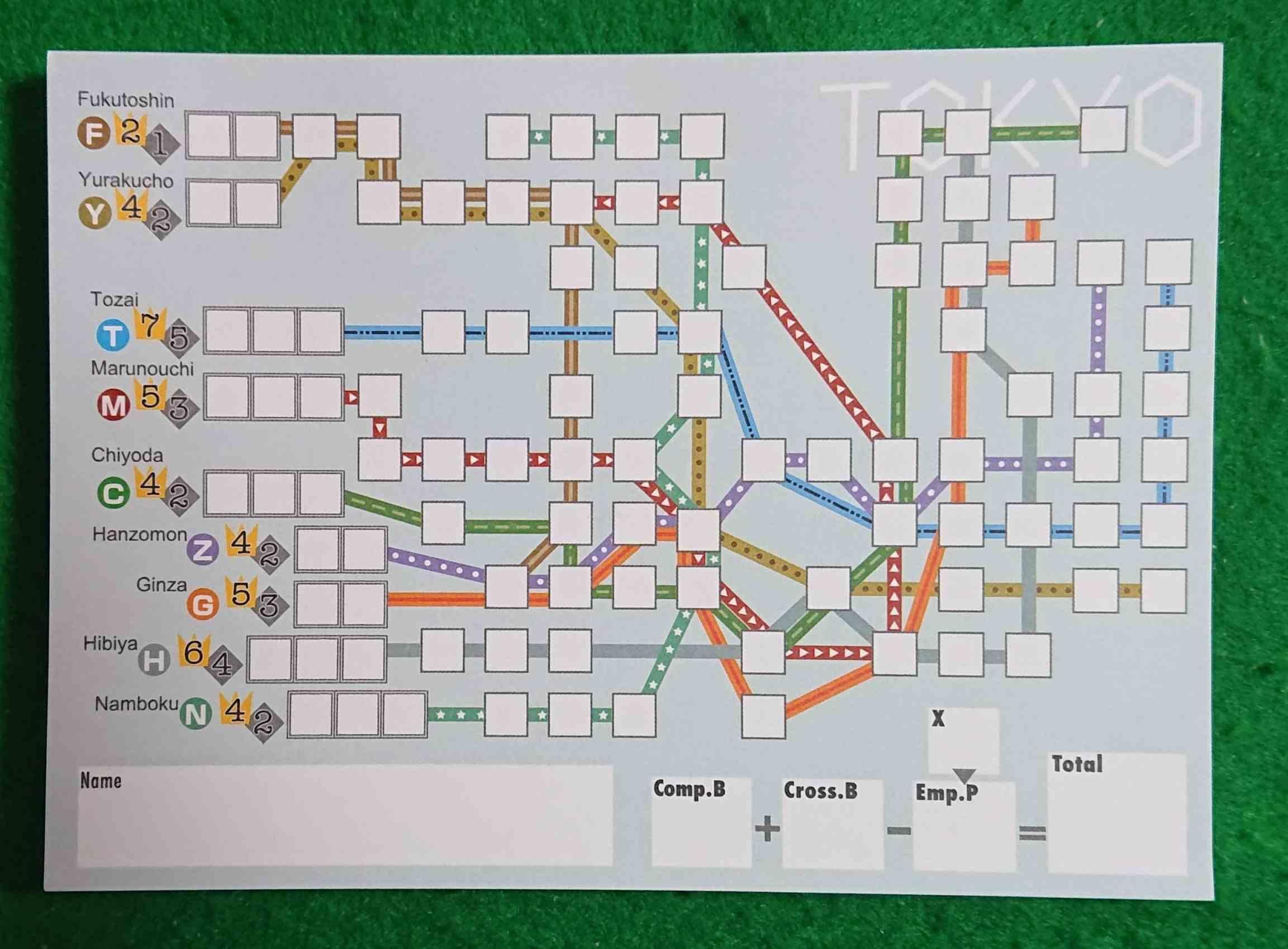 メトロックス 地下鉄の路線を完成させよう! 紙ペン ボードゲーム