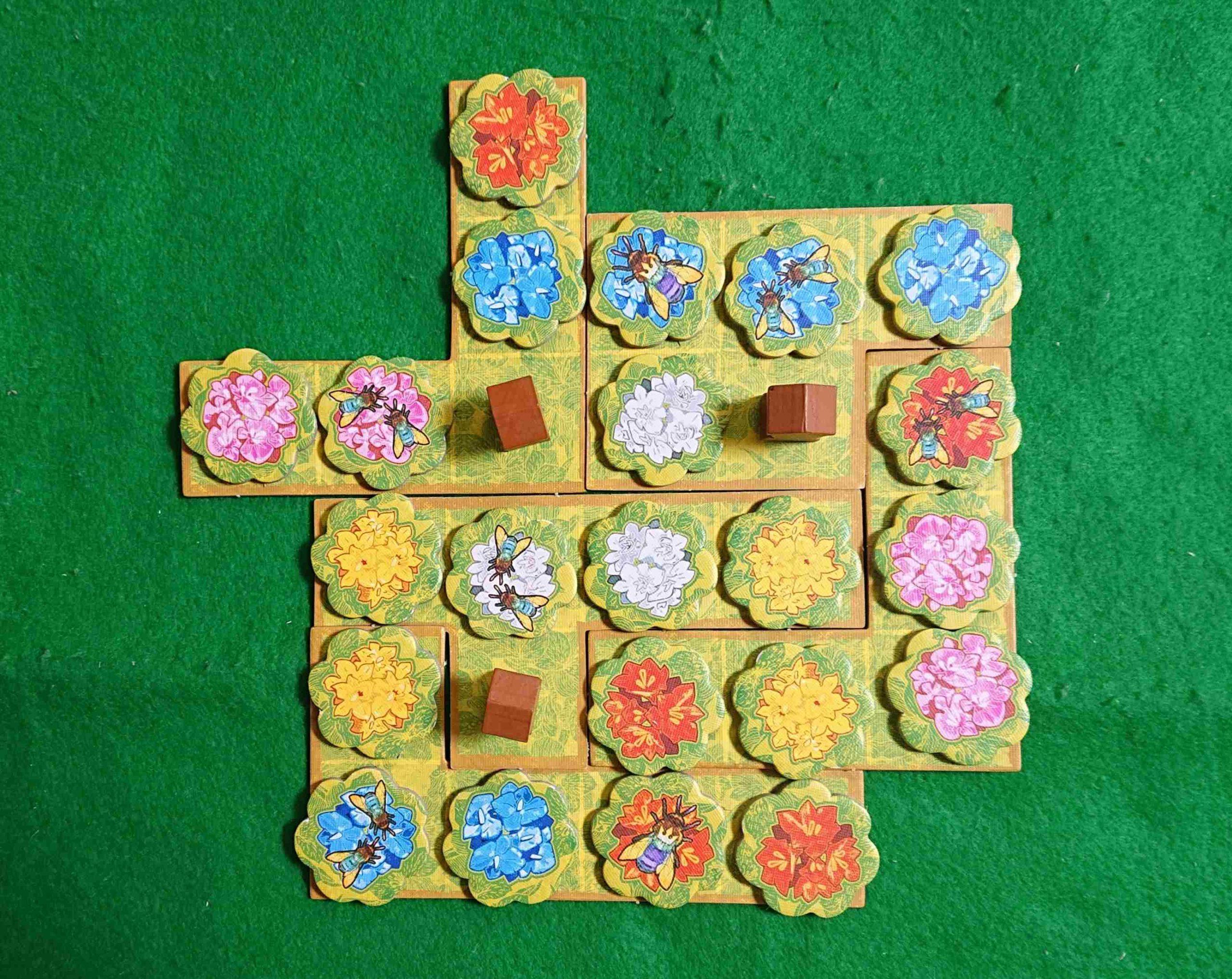 クィーンズ ルール&レビュー ランの花の獲得と配置のジレンマが悩ましい! タイル配置 パズル系 ボードゲーム