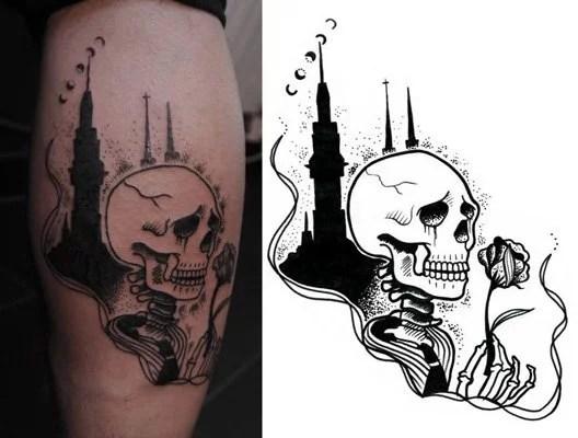 tattoo-kim-squelette-cathedrale-noir-et-blanc