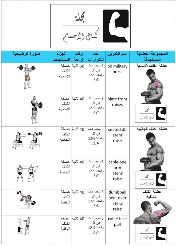 افضل جدول تمارين تضخيم العضلات