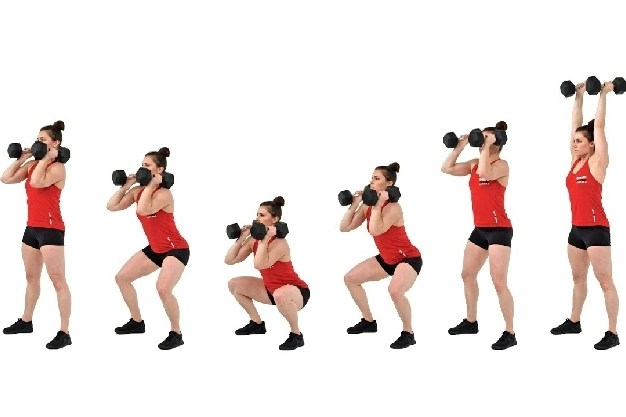 Free weight Thruster Low Impact Exercises