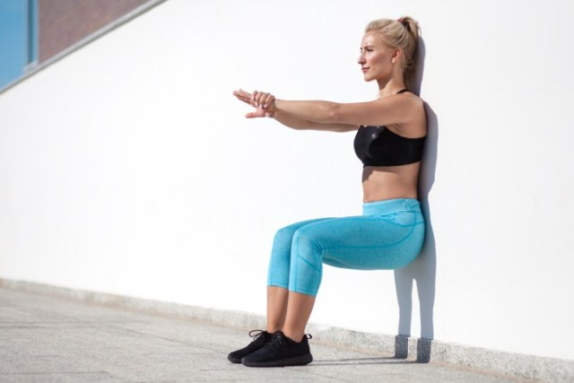 Wall Squat exercise for inner thigh