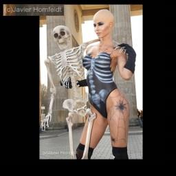 Bodypainting Micaela Schäfer Halloween
