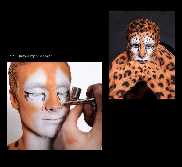 Bodypainting mit Marcell Jansen als Leopard