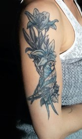Airbrush Tattoo Vogel für Werbefilm