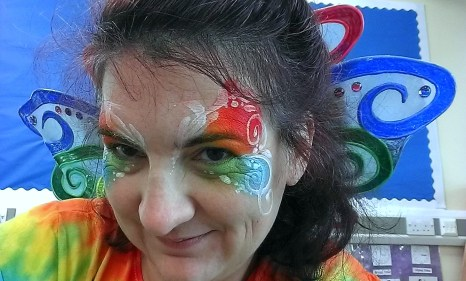 Falcon me painted butterfly rainbow selfie.02