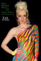 Neon zebra urban jungle steph skinny crop top sml logo