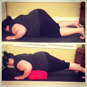 Two modifications for chaturanga dandasana that I typically offer in class