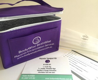BodyWise BirthWise Placenta transport kit for placenta encapsulation. Cooler bag with declaration form, biohazard bags for placenta collection and delivery.